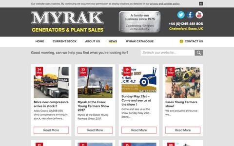 Screenshot of Press Page myrak.com - Latest News - Myrak Generators & Plant Sales - captured May 27, 2017