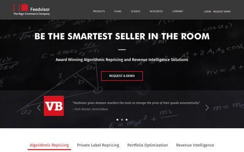 Screenshot of Home Page feedvisor.com - Feedvisor - The Algo-Commerce Company - captured July 4, 2016