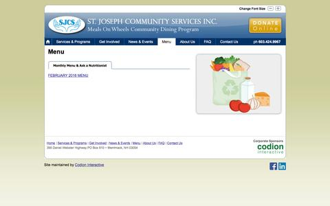 Screenshot of Menu Page mealsonwheelsnh.org - Meals on Wheels   » Monthly Menu & Ask a Nutritionist - captured Feb. 16, 2016