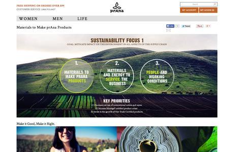 Screenshot of Products Page prana.com - Materials to Make prAna Products | prAna Life - captured Sept. 23, 2014
