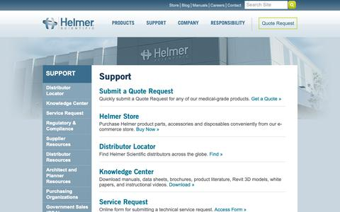 Screenshot of Support Page helmerinc.com - Helmer Scientific | Support - captured Sept. 28, 2018