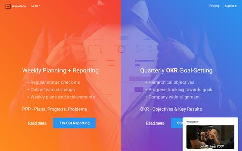 Screenshot of Home Page weekdone.com - Weekdone Weekly Planning + Quarterly Objectives and Key Results (OKR) - captured June 10, 2017