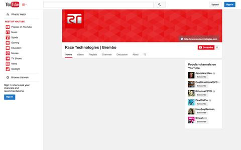 Screenshot of YouTube Page youtube.com - Race Technologies | Brembo  - YouTube - captured Oct. 27, 2014