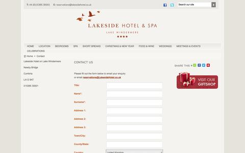 Screenshot of Contact Page lakesidehotel.co.uk - Lake Windermere: Lake District Hotels - Booking - captured May 14, 2017
