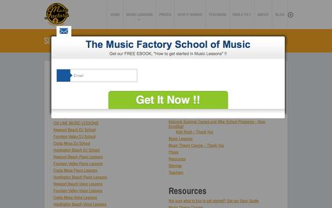 Screenshot of Site Map Page themusicfactoryoc.com - Sitemap - The Music Factory OCThe Music Factory OC - captured Feb. 15, 2016