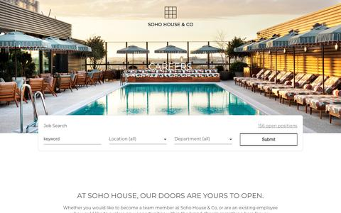 Screenshot of Jobs Page sohohouse.com - Soho House | Careers - captured Nov. 15, 2018