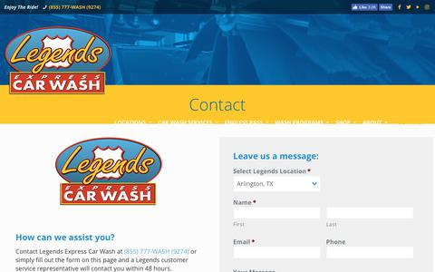 Screenshot of Contact Page legendscarwash.com - Contact | Legends Express Car Wash - captured Sept. 27, 2018