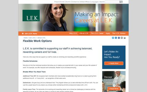 Flexible Work Options, Work-Life Options | L.E.K. Consulting