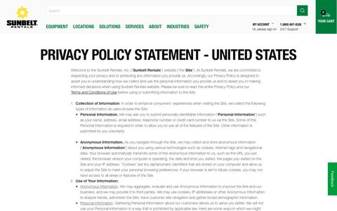 Screenshot of Privacy Page sunbeltrentals.com - Privacy Policy Statement - United States - captured April 9, 2018