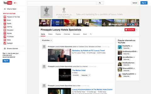Screenshot of YouTube Page youtube.com - Pineapple Luxury Hotels Specialists  - YouTube - captured Nov. 2, 2014