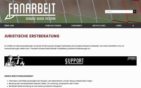 Screenshot of Support Page fanarbeit.ch - JURISTISCHE ERSTBERATUNG – Fanarbeit Schweiz Suisse Svizzera - captured Feb. 5, 2018