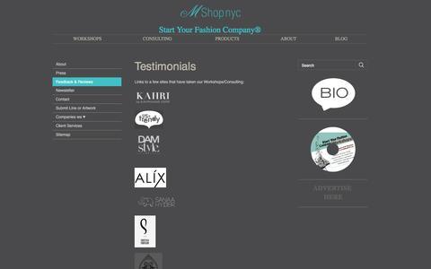 Screenshot of Testimonials Page mshopnyc.com - Testimonials - captured July 19, 2016
