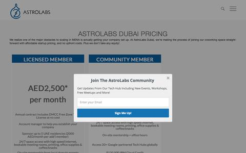 Screenshot of Pricing Page astrolabs.com - AstroLabs Dubai Membership Pricing - AstroLabs - captured Oct. 21, 2018