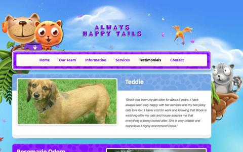 Screenshot of Testimonials Page alwayshappytails.com - Always Happy Tails Reviews | Check out our pet sitting reviews for Frisco Texas - captured April 16, 2017