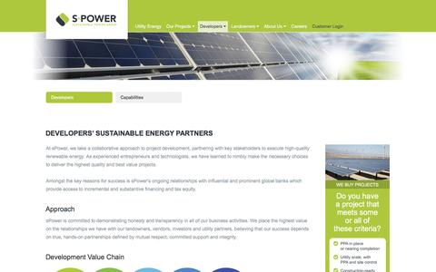 Screenshot of Developers Page spower.com - sPower - Sustainable Power Group - captured Dec. 4, 2015