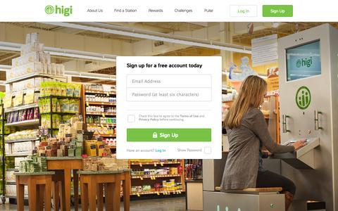 Screenshot of Signup Page higi.com - higi - captured Sept. 23, 2014