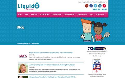 Screenshot of Blog liquidpersonnel.com - Social work jobs / Social work agency / Health and social care jobs - captured July 15, 2016