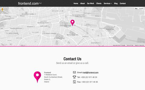 Screenshot of Contact Page frontend.com - Contact | Frontend - captured Sept. 30, 2014