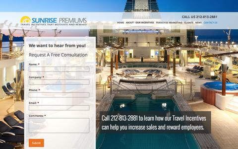 Screenshot of Contact Page sunrisepremiums.com - Contact Us - captured Sept. 30, 2014