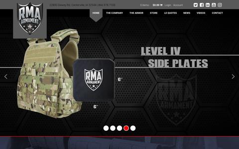 Screenshot of Home Page rmadefense.com - Bullet Proof Vests & Hard Armor Plates | RMA Armament - captured Sept. 25, 2018
