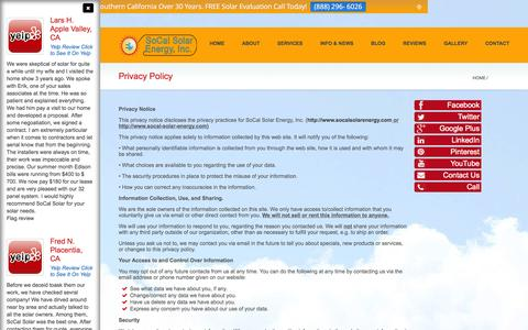 Screenshot of Privacy Page socal-solar-energy.com - Privacy Policy - SoCal Solar Energy - captured Sept. 30, 2014