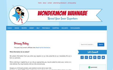 Screenshot of Privacy Page wondermomwannabe.com - Privacy Policy - captured Jan. 11, 2016