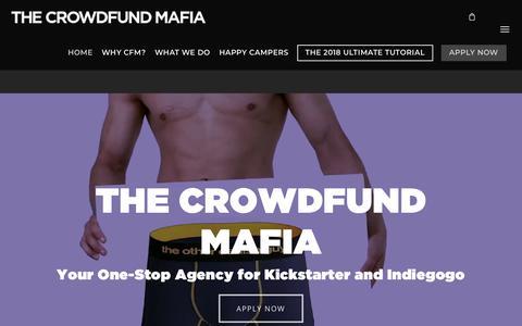 Screenshot of Home Page crowdfundmafia.com - The Crowdfund Mafia! | #1 Kickstarter and Indiegogo Agency Since 2012 - captured July 23, 2018