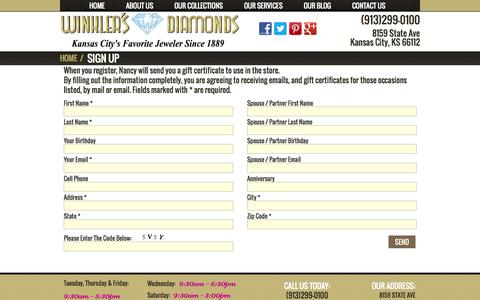 Screenshot of Signup Page winklersdiamonds.com - Winkler's Diamonds - Gift Certificate Sign Up - captured Oct. 9, 2014