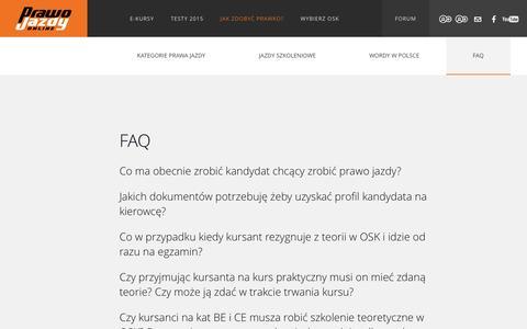 Screenshot of FAQ Page prawojazdy.com.pl - F.A.Q. | PrawoJazdy.com.pl - najlepszy e-learning na prawo jazdy - captured Nov. 25, 2015