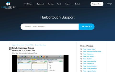Screenshot of Support Page harbortouch.com - Retail - Dimension Groups : Harbortouch Support Center - captured Oct. 9, 2018