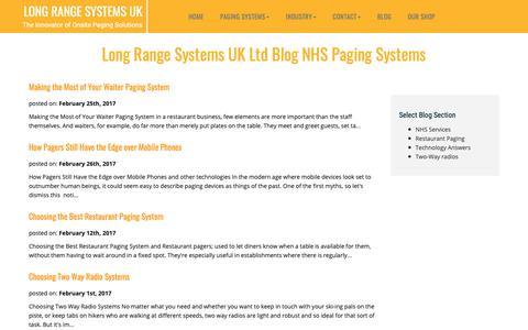 Screenshot of Blog lrspagers.co.uk - Long Range Systems UK Ltd Blog. - captured Nov. 11, 2018