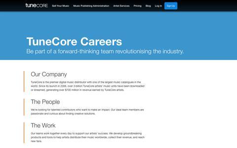 Screenshot of Jobs Page tunecore.com - TuneCore Careers | TuneCore - captured Nov. 6, 2017