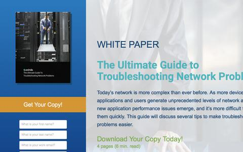 Screenshot of Landing Page exinda.com - The Ultimate Guide to Troubleshooting Network Problems  | Exinda - captured June 21, 2017