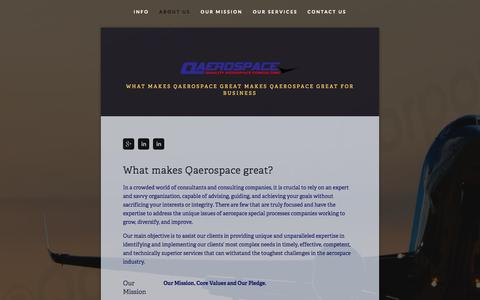 Screenshot of About Page qaerospace.com - About Us - captured Oct. 2, 2014