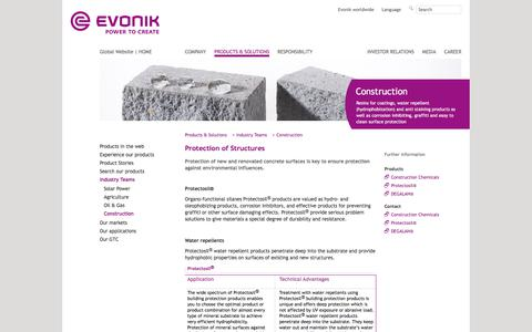 Protection of Structures - Construction Industry - Evonik Industries - Specialty Chemicals