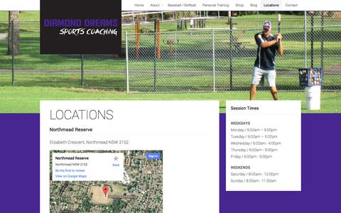 Screenshot of Locations Page diamonddreams.com.au - Locations | Diamond Dreams Sports Coaching - captured Oct. 5, 2014