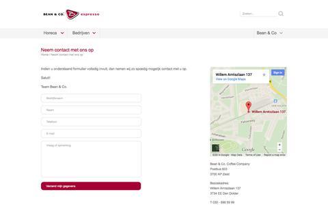 Screenshot of Contact Page bean-co.nl - Neem contact met ons op | Bean-co.nl - captured Oct. 5, 2014