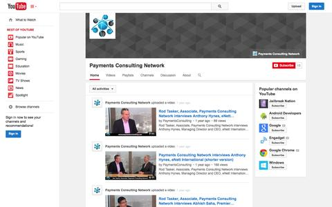 Screenshot of YouTube Page youtube.com - Payments Consulting Network  - YouTube - captured Oct. 22, 2014