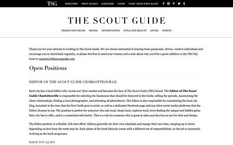 Screenshot of Jobs Page thescoutguide.com - Careers - The Scout Guide - captured Oct. 6, 2018