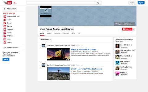 Screenshot of YouTube Page youtube.com - Utah Press Assoc. Local News  - YouTube - captured Oct. 26, 2014