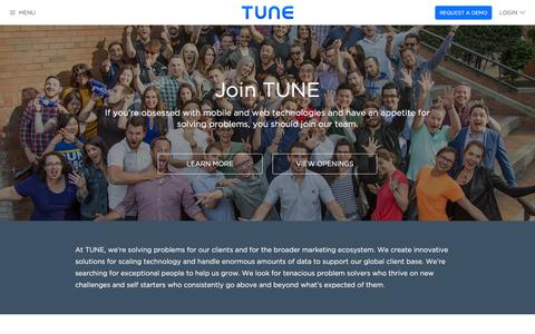 Screenshot of Jobs Page tune.com - TUNE | Looking For a Career? Join Our Team! - captured Jan. 13, 2016
