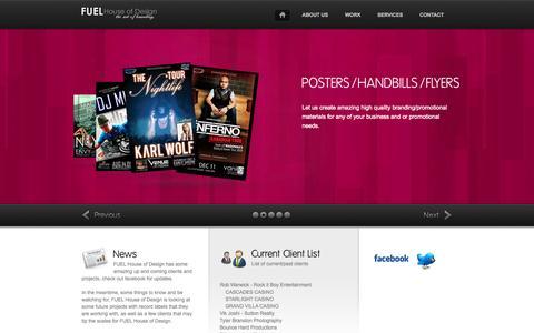 Screenshot of Home Page fuelhouseofdesign.com - FUEL House of Design  - ...the art of branding ™ - captured Sept. 30, 2014