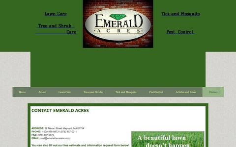 Screenshot of Contact Page emeraldacresinc.com - Contact - captured May 17, 2017