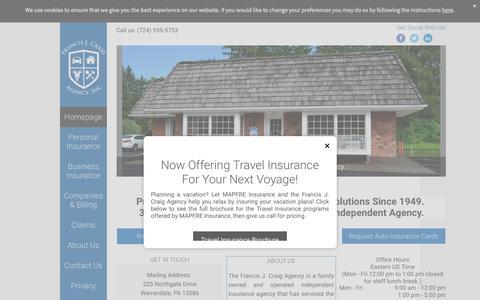Screenshot of Home Page craigins.com - Francis J. Craig Agency - Independent Insurance Agency - captured Nov. 25, 2016