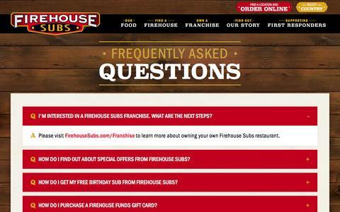 Screenshot of FAQ Page firehousesubs.com - Firehouse Subs - FAQ   Firehouse Subs - captured Jan. 14, 2016