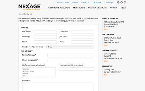 Screenshot of Signup Page nexage.com - Get Started   Nexage - captured Oct. 9, 2014