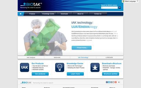 Screenshot of Home Page biotak.net - BIOtAK - Decontamination indicator technology, decontamination monitoring - captured Nov. 21, 2016