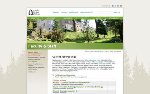 Screenshot of Jobs Page puc.edu - Pacific Union College | Current Job Postings - captured Nov. 19, 2018