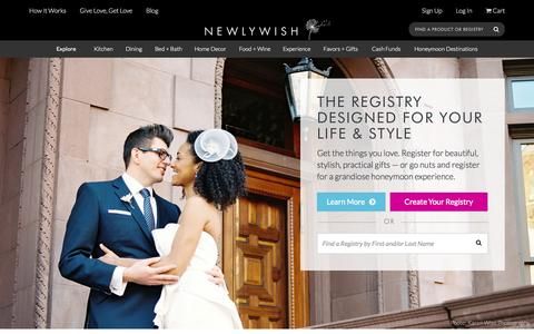 Screenshot of Home Page newlywish.com - NewlyWish: The Online Wedding Registry For Your Life and Style - captured Aug. 4, 2015