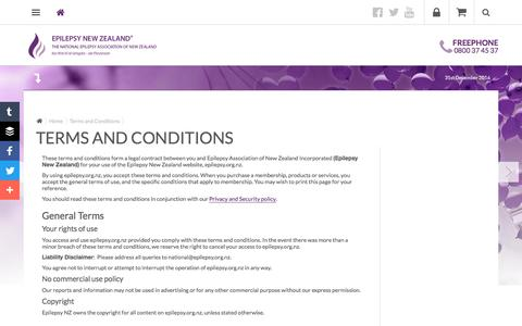Screenshot of Terms Page epilepsy.org.nz - Epilepsy NZ - Terms and Conditions - captured Dec. 31, 2016